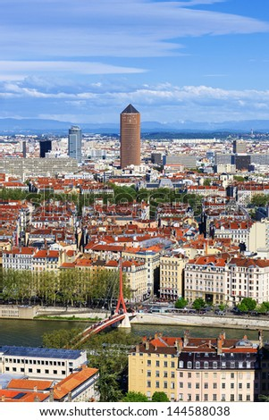 Famous aerial view of Lyon city, France - stock photo