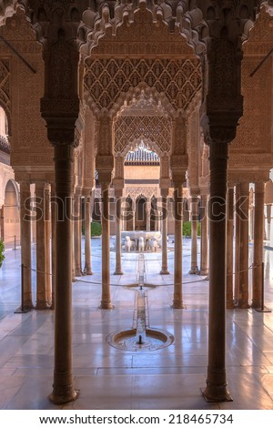 Famous Alhambra is a palace and fortress complex located in Granada, Andalusia, Spain - stock photo