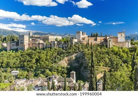 Famous Alhambra palace, Granada, Spain. - stock photo
