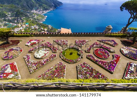 Famous Amalfi Coast view from  Ravello Rufolo Villa, Italy - stock photo