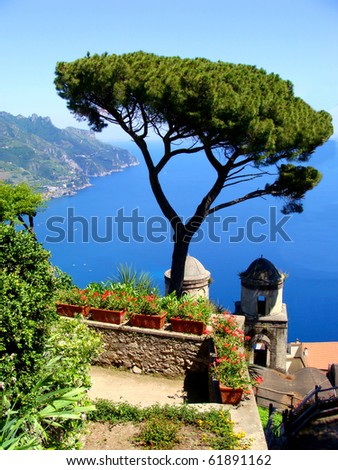 Famous Amalfi Coast view from the cliffside town of Ravello, Italy - stock photo