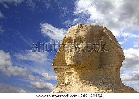 famous ancient egypt sphinx head in Giza Cairo - stock photo