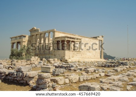 Famous Ancient Porch Of The Caryatids At The Temple Of Erechtheion Overlooking Athens, Greece