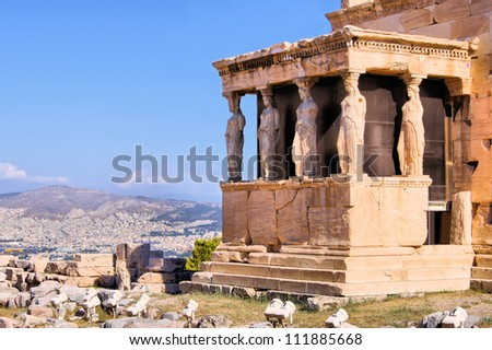 Famous ancient Porch of the Caryatids overlooking Athens, Greece - stock photo