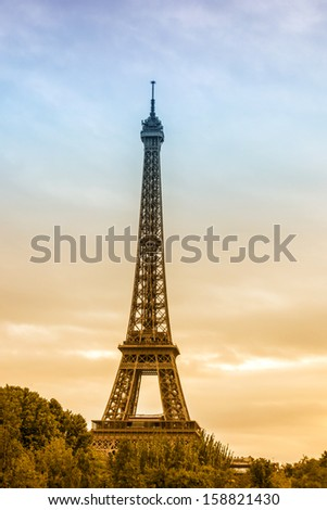 Famous and beautiful Eiffel tower,Paris ,France