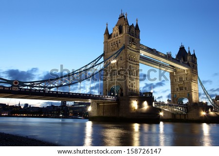 Famous and Beautiful  Evening View of Tower Bridge, London, UK