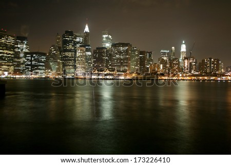 Famous and Beautiful night view to Manhattan from Brooklyn - stock photo