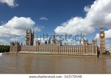 Famous and Beautiful view to Big Ben and the House of Parliament with Thames, London, UK