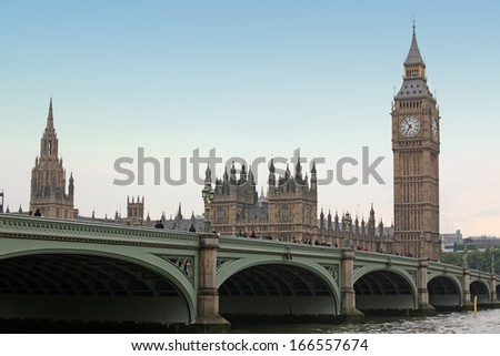 Famous and beautiful view to Sundown at Big Ben and Westminster bridge, London gothic architecture, UK - stock photo