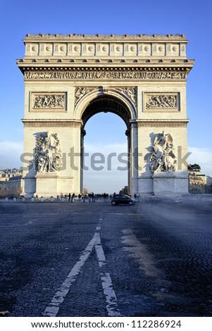 famous Arc de Triomphe in Paris, France - stock photo