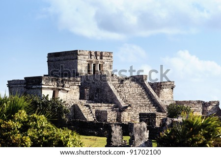 Famous archaeological ruins of Tulum in Mexico in summer - stock photo