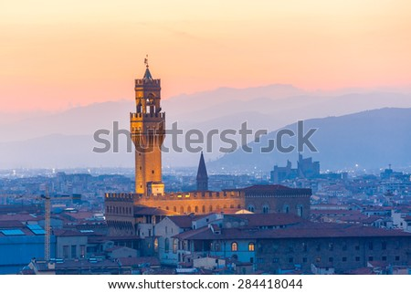 Famous Arnolfo tower of Palazzo Vecchio on the Piazza della Signoria at sunset from Piazzale Michelangelo in Florence, Tuscany, Italy