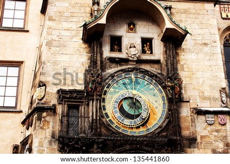 Famous astronomical clock at the Old Town square in Prague, Czech Republic, Europe - stock photo