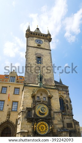 Famous Astronomical Clock in the Prague old Town Hall, Czech republic.