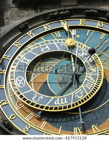 Famous Astronomical dial (1410), at Prague astronomical clock, with the Latin OCCASVS (west), ORTUS (east), AVRORA (dawn) and CPEPVSCVLVM (twilight)