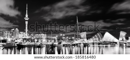 Famous Auckland City Skyline from the Viaduct  - stock photo