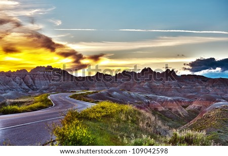 Famous Badlands Loop Road in Badlands National Park, South Dakota, U.S.A. Badlands Loop Road HDR Photography - stock photo