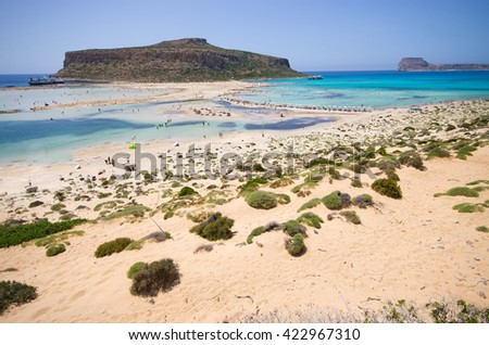 Famous Balos beach on Crete island, Greece
