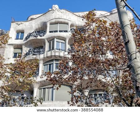 famous Barcelona landmark - Antonio Gaudi's work Casa Milo (or La Pedrera) - stock photo