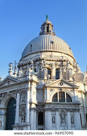 Famous Basilica di Santa Maria della Salute in Venice, Italy - stock photo