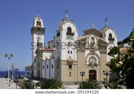 Famous basilica of Candelaria in the eastern part of Tenerife in the Spanish Canary Islands - stock photo