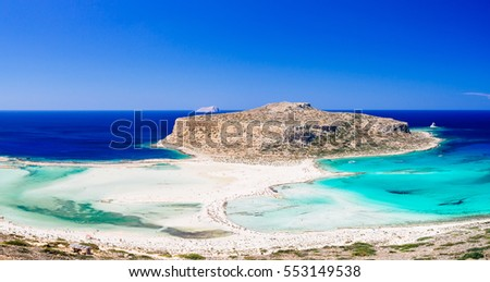 Famous beach Balos lagoon on Crete, Greece