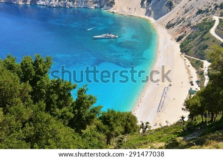 Famous beach Mirtos on Kefalonia island in Greece