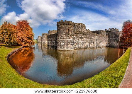Famous Beaumaris Castle in Anglesey, North Wales, United Kingdom, series of Walesh castles - stock photo