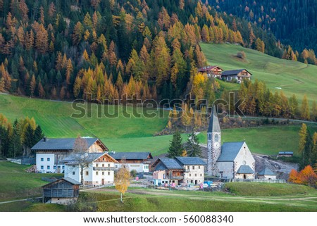 Famous beautiful church Santa Maddalena at the Funes valley, Bolzano, Italy, Europe.
