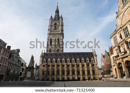 Famous belfry tower in the center of Ghent in Belgium.
