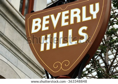 Famous Beverly Hills sign close-up view  - stock photo