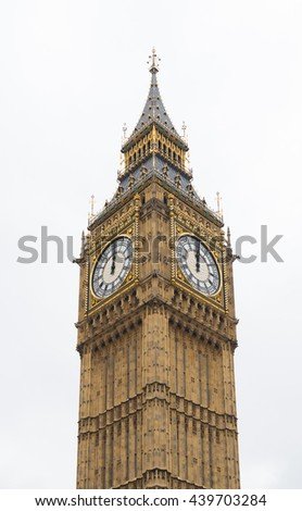 Famous Big Ben tower clock in London - stock photo