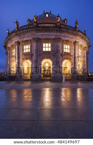 Famous Bode Museum at dusk in Berlin, Germany