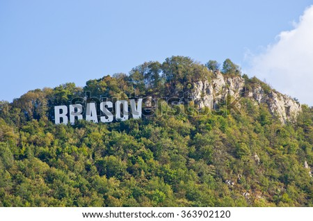 Famous Brasov letters on the hill, Romania - stock photo