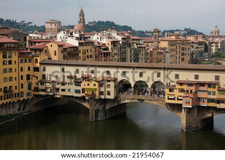 Famous  bridge in the center of Florence in Italy