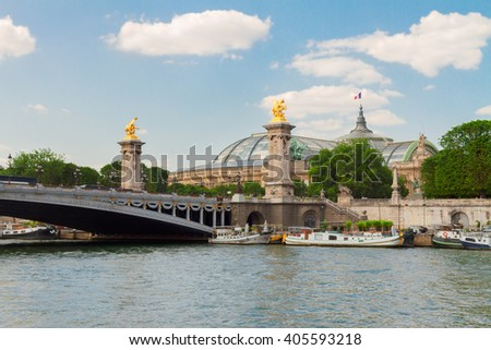 famous Bridge  of Alexandre III over water of  river Seine at summer day, France - stock photo