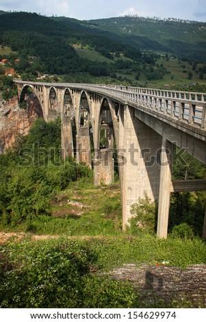 Famous bridge over Tara river - stock photo