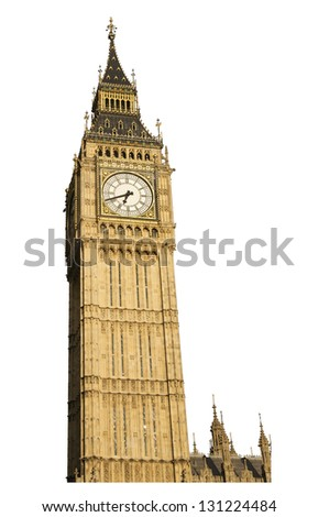 Famous British clock tower Big Ben, isolated, on white background - stock photo