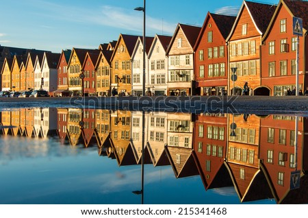 Famous Bryggen street with wooden colored houses in Bergen, Norway, UNESCO world heritage cite - architecture background - stock photo