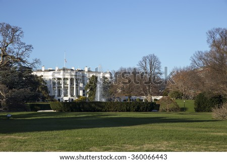 Famous building White House in Washington DC. Presidential residence