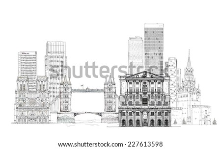 Famous buildings of the world, Sketch on Canary Wharf, Bank of England, Tower bridge in London and other - stock photo