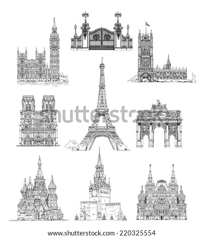 Famous buildings, sketch collection. Paris Notre Dame, Big Ben and houses of parliament, Gate, Red square Moscow and etc - stock photo