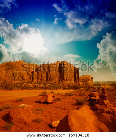 Famous buttes in unique landscape of Monument Valley, Utah, USA - stock photo