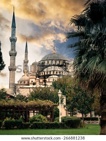 Famous Byzantine Church Hagia Sophia at sunset, Istanbul, Turkey - stock photo