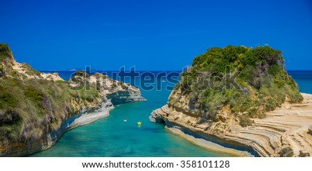 Famous Canal D'amour in Sidari - Corfu island, Greece - stock photo