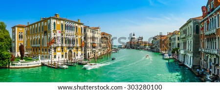 Famous Canal Grande with Basilica di Santa Maria della Salute in Venice, Italy - stock photo