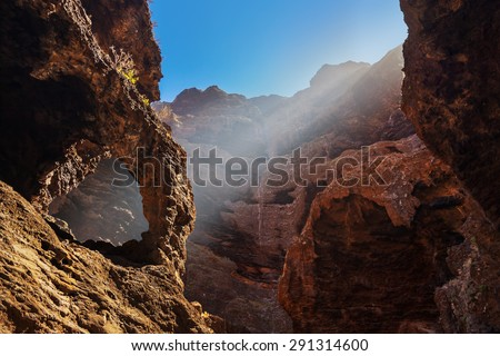 Famous canyon Masca at Tenerife island - Canary Spain