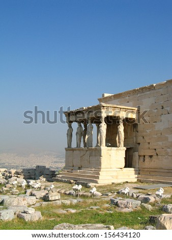 Famous caryatid portico in Acropolis, Athens - stock photo