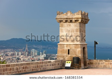Famous Castle of Montjuic in Barcelona, Spain - stock photo