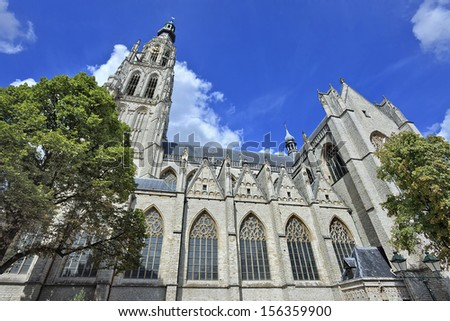 Famous cathedral at the old market in Breda, Holland, Europe
